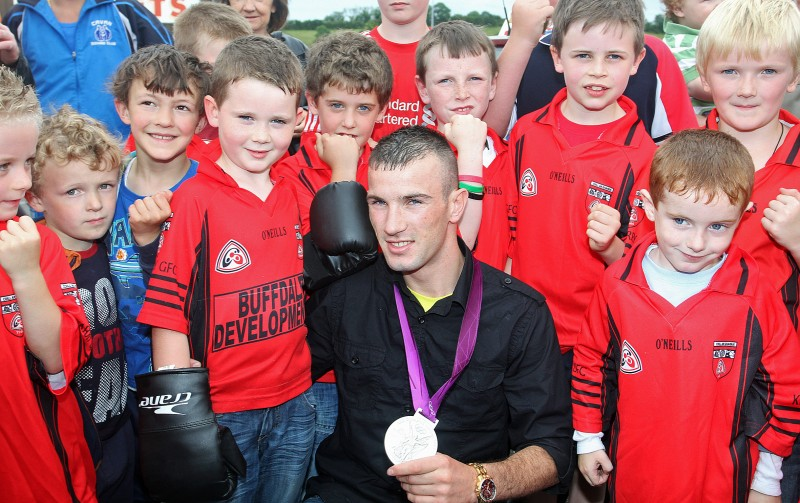 John Joe Nevin touring Killygarry schools in 2012 with his Olympic silver medal