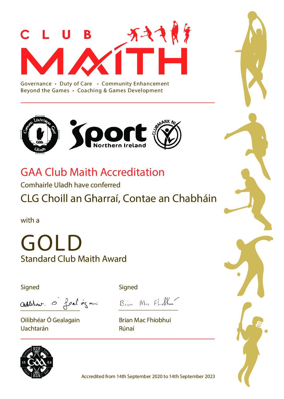Club Maith GOLD – Choill an Gharraí